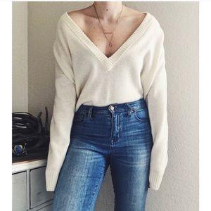 Vneck deep v merino wool madewell cream sweater M
